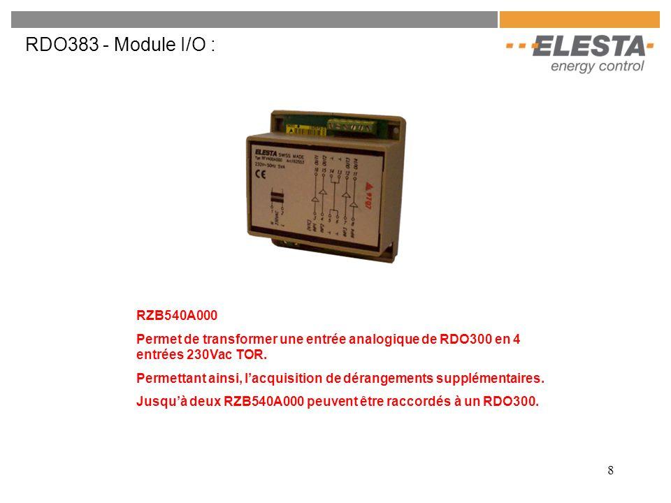 RDO383 - Module I/O : RZB540A000. Permet de transformer une entrée analogique de RDO300 en 4 entrées 230Vac TOR.
