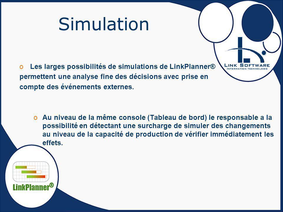 Simulation Les larges possibilités de simulations de LinkPlanner®