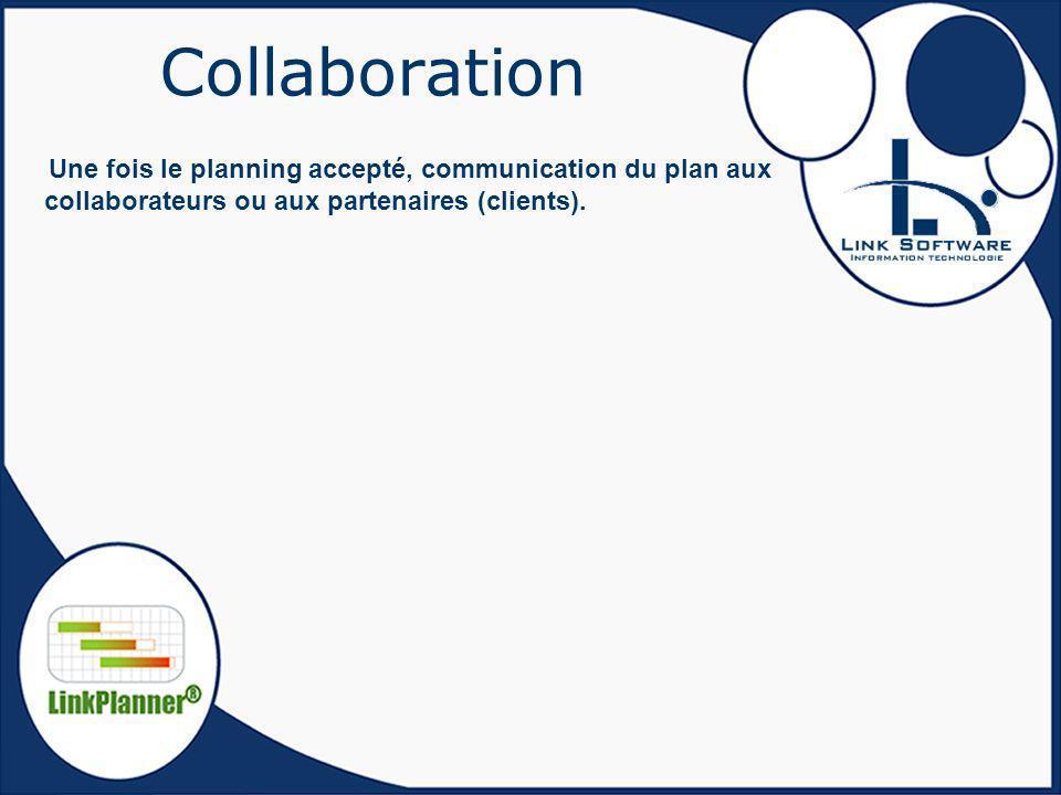 Collaboration Une fois le planning accepté, communication du plan aux collaborateurs ou aux partenaires (clients).