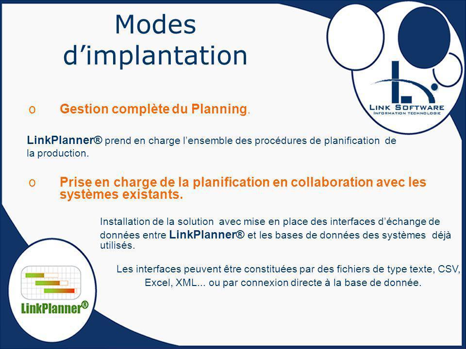 Modes d'implantation Gestion complète du Planning. LinkPlanner® prend en charge l'ensemble des procédures de planification de la production.
