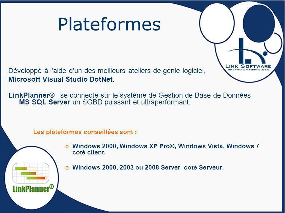 Plateformes Développé à l'aide d'un des meilleurs ateliers de génie logiciel, Microsoft Visual Studio DotNet.