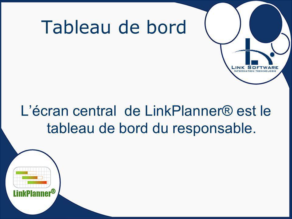 L'écran central de LinkPlanner® est le tableau de bord du responsable.