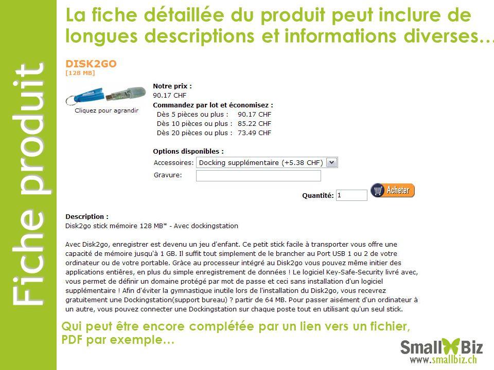 La fiche détaillée du produit peut inclure de longues descriptions et informations diverses…