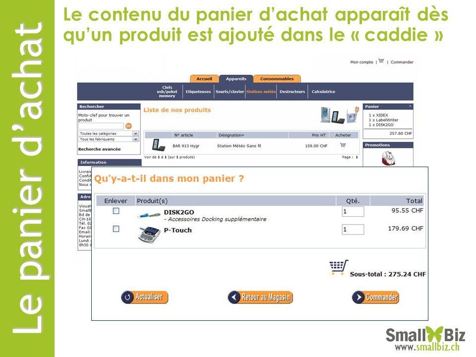 Le contenu du panier d'achat apparaît dès qu'un produit est ajouté dans le « caddie »