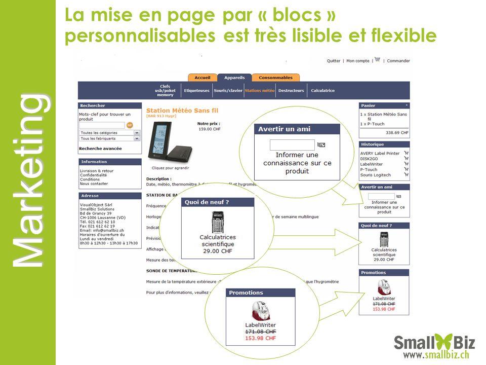 La mise en page par « blocs » personnalisables est très lisible et flexible