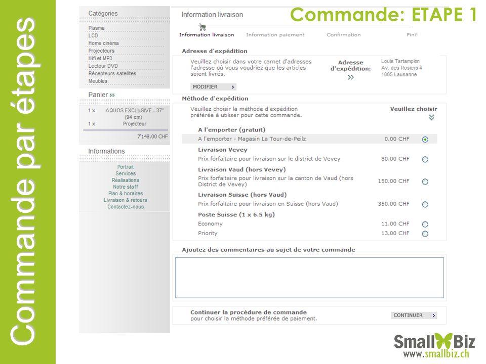 Commande: ETAPE 1 Commande par étapes