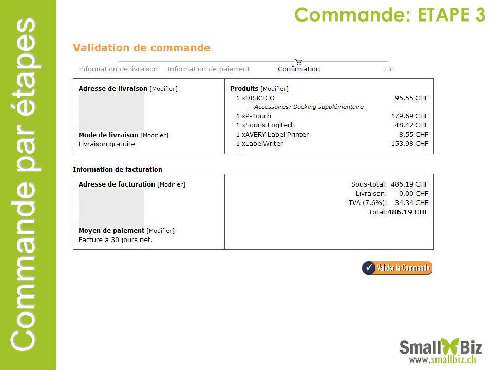 Commande: ETAPE 3 Commande par étapes
