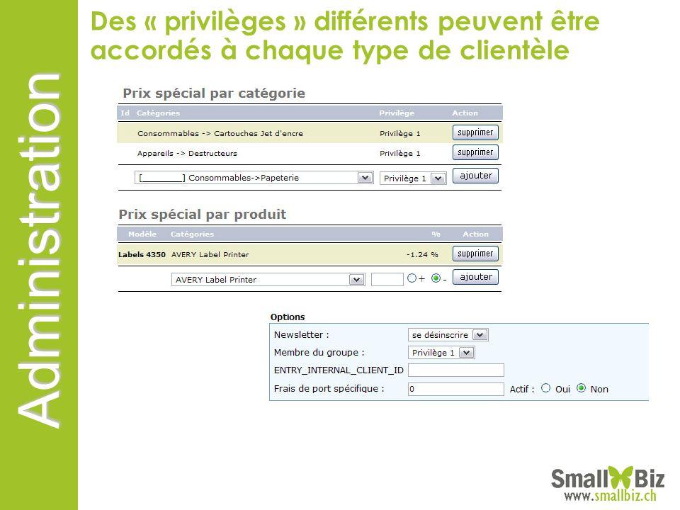 Des « privilèges » différents peuvent être accordés à chaque type de clientèle