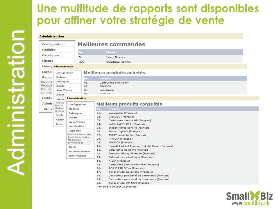 Une multitude de rapports sont disponibles pour affiner votre stratégie de vente