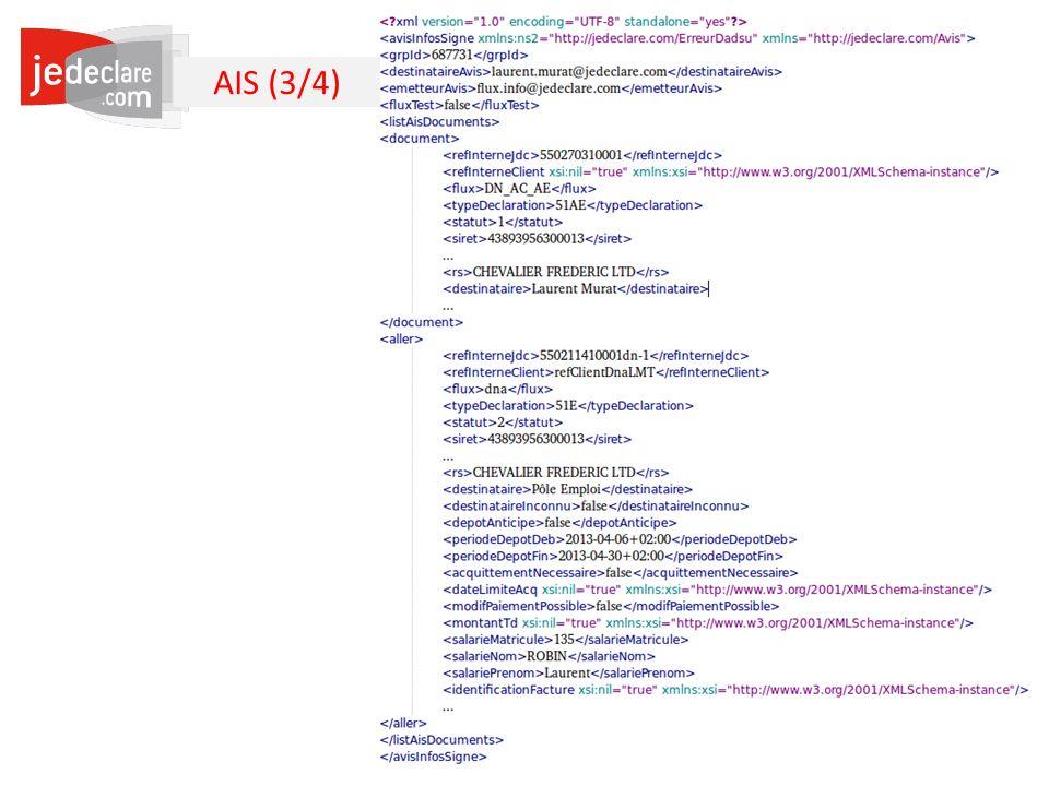 AIS (3/4) Pour la DN-AE, votre référence cliente : S20.G01.00.013.001