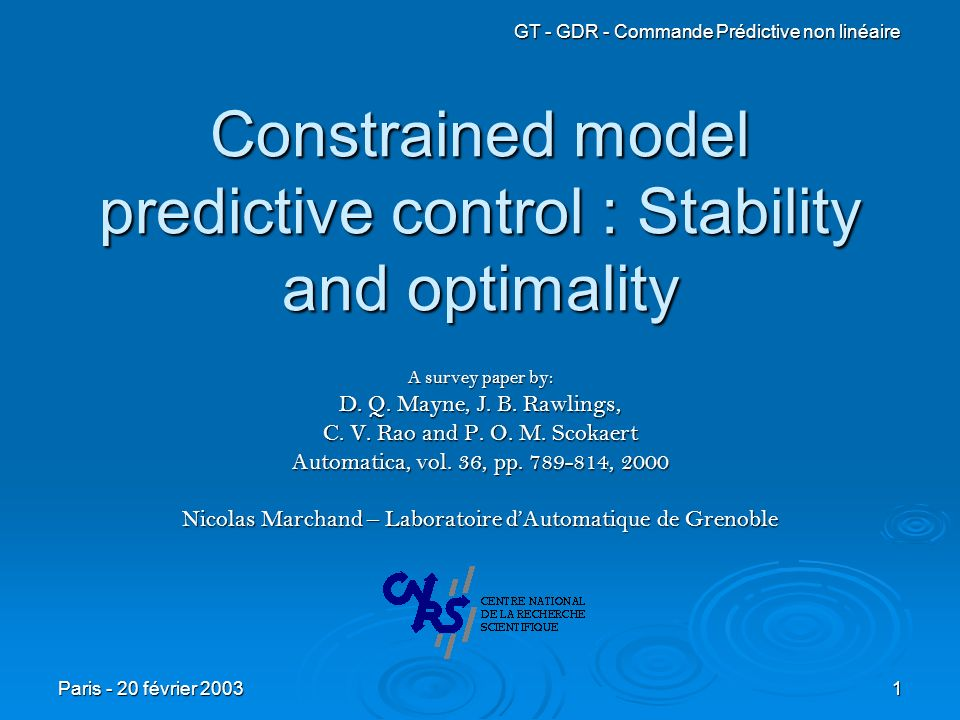 Constrained model predictive control : Stability and optimality