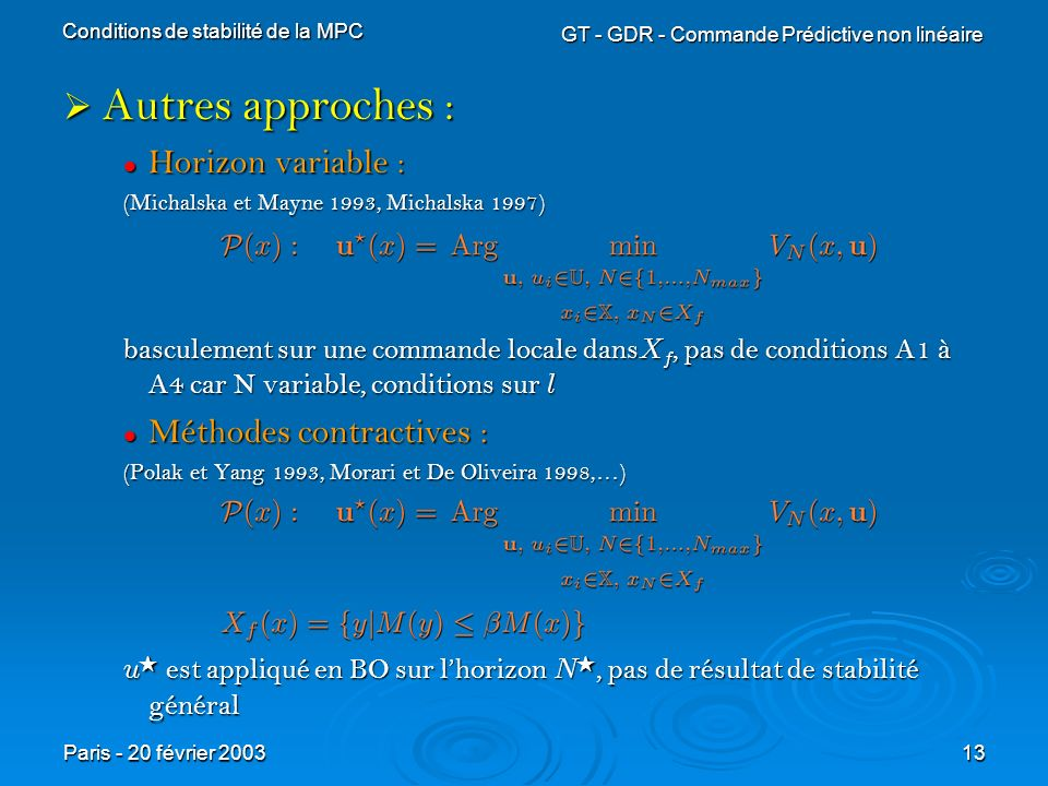 Autres approches : Horizon variable : Méthodes contractives :