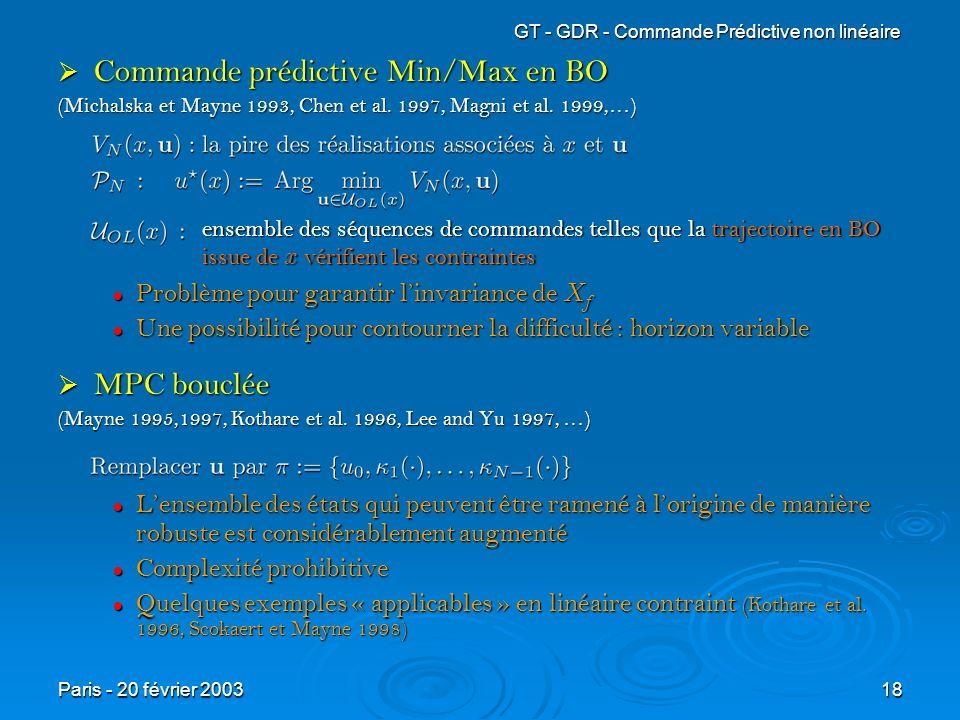 Commande prédictive Min/Max en BO