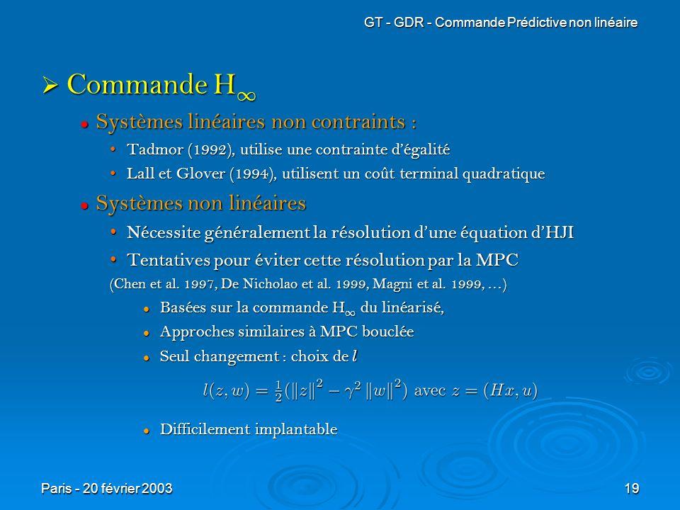 Commande H1 Systèmes linéaires non contraints : Systèmes non linéaires