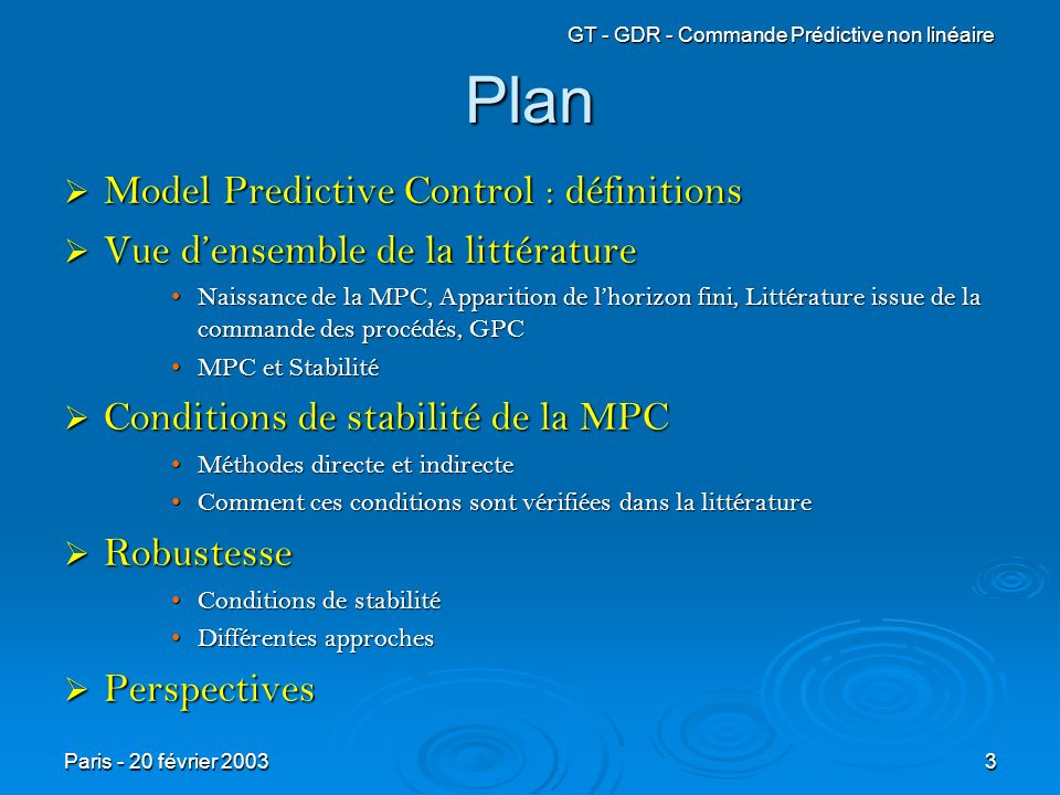 Plan Model Predictive Control : définitions