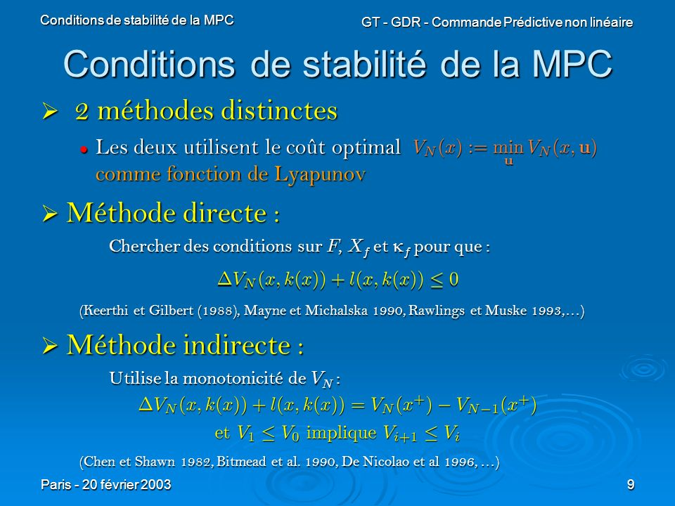 Conditions de stabilité de la MPC