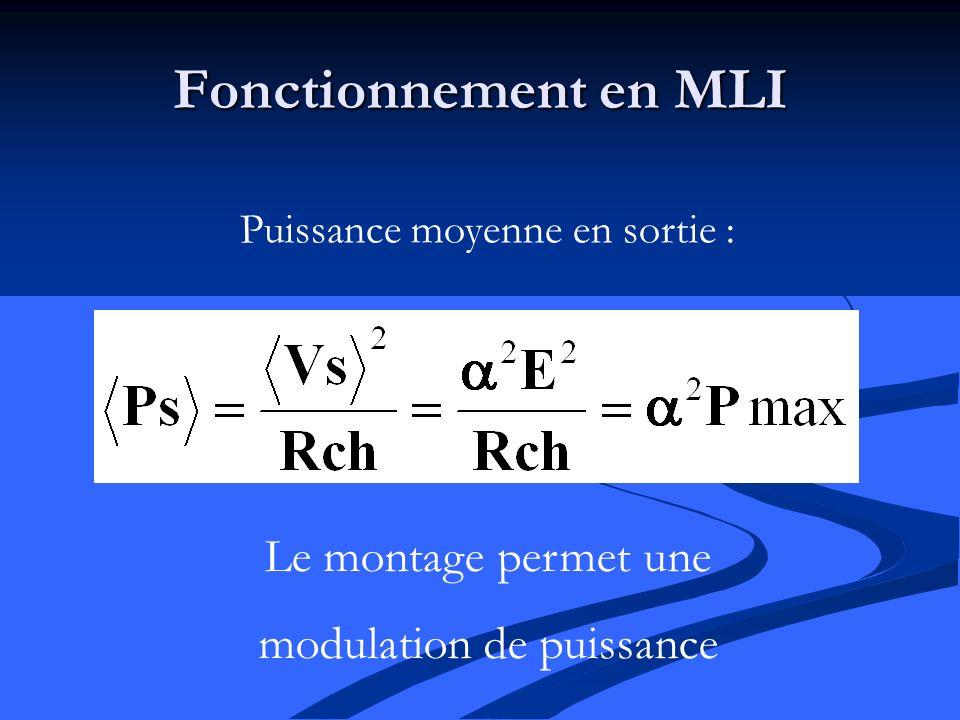 Fonctionnement en MLI Le montage permet une modulation de puissance