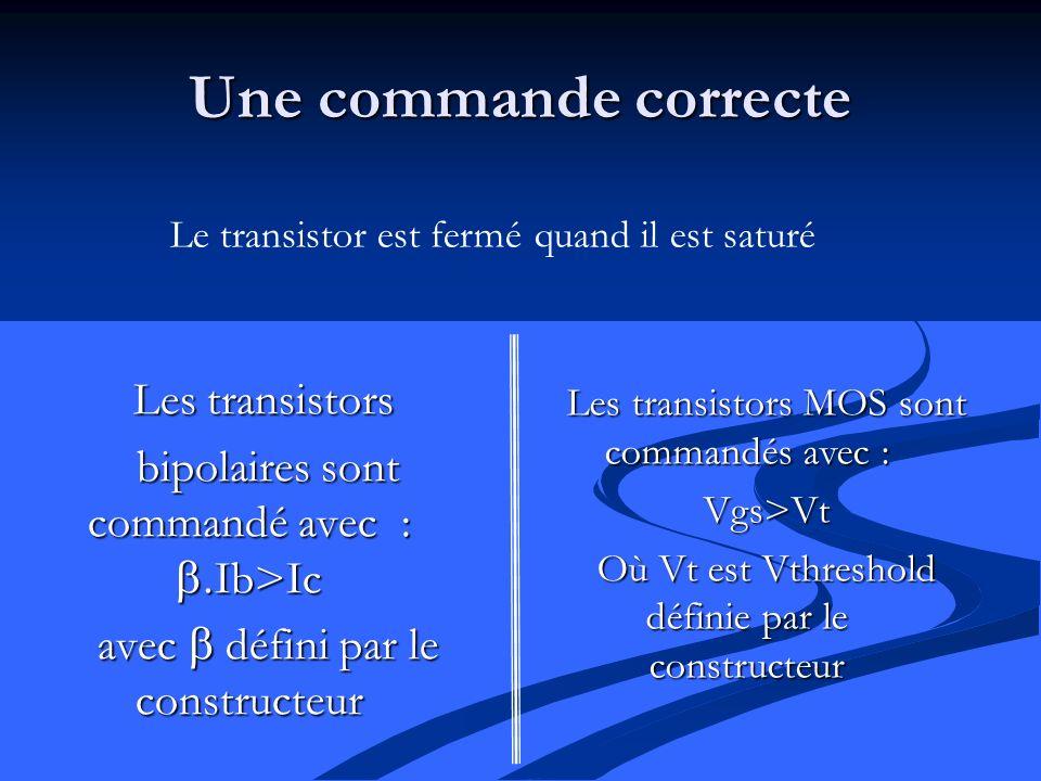 Une commande correcte Les transistors