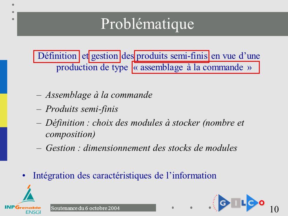 Problématique Définition et gestion des produits semi-finis en vue d'une production de type « assemblage à la commande »