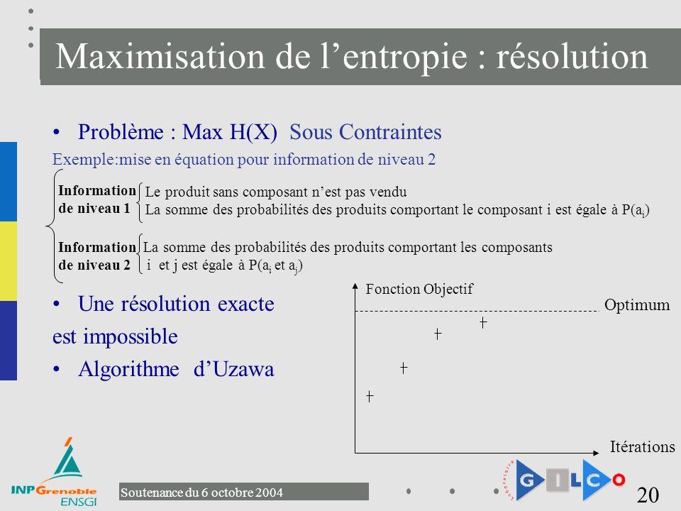 Maximisation de l'entropie : résolution