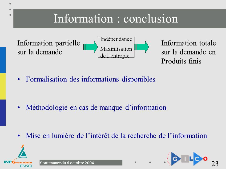 Information : conclusion