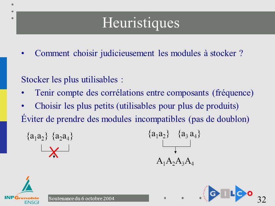 Heuristiques Comment choisir judicieusement les modules à stocker
