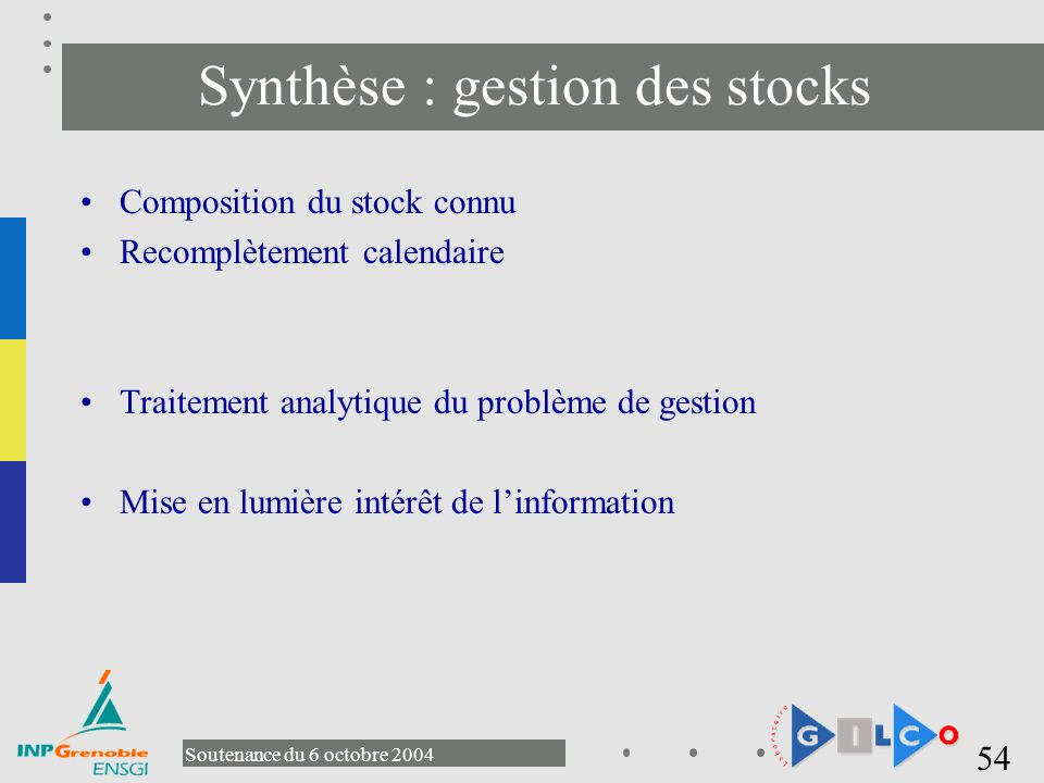 Synthèse : gestion des stocks