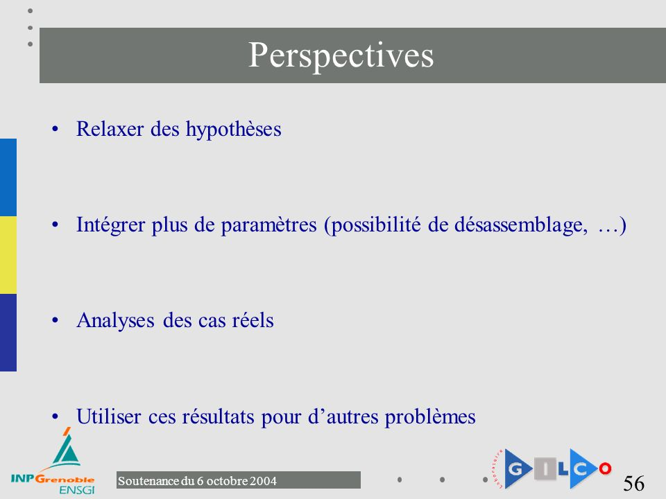 Perspectives Relaxer des hypothèses