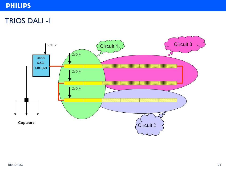 TRIOS DALI -1 Circuit 3 Circuit 1 Circuit 2 230 V 230 V 230 V 230 V