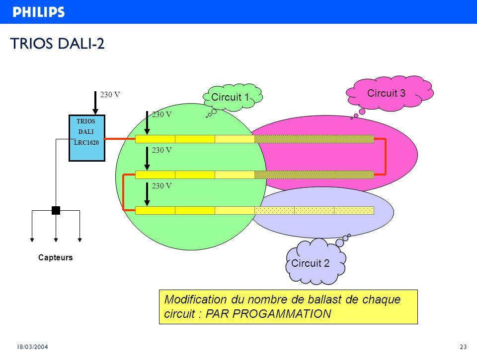TRIOS DALI-2 Circuit 3. Circuit 1. 230 V. 230 V. TRIOS. DALI. LRC1620. 230 V. 230 V. Capteurs.