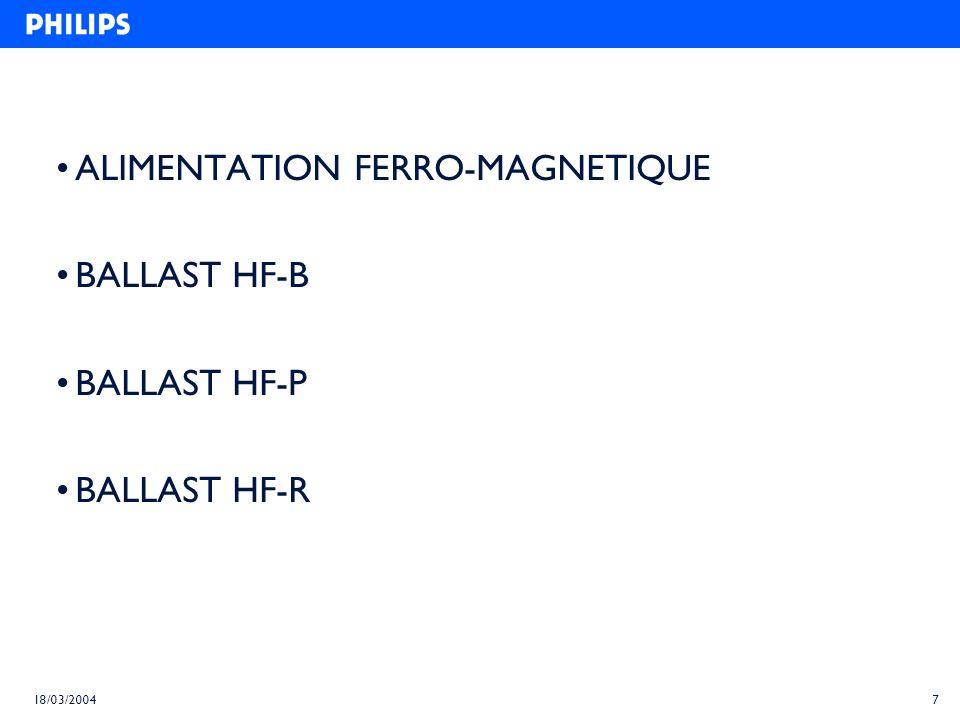 ALIMENTATION FERRO-MAGNETIQUE BALLAST HF-B BALLAST HF-P BALLAST HF-R