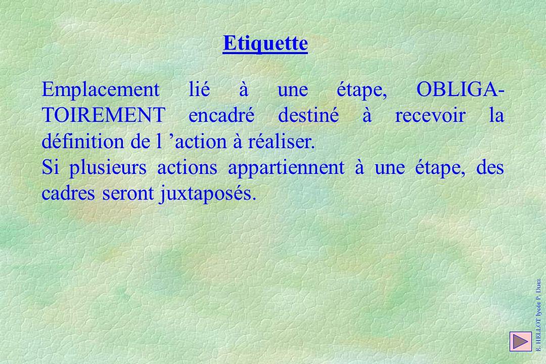 Etiquette Emplacement lié à une étape, OBLIGA-TOIREMENT encadré destiné à recevoir la définition de l 'action à réaliser.