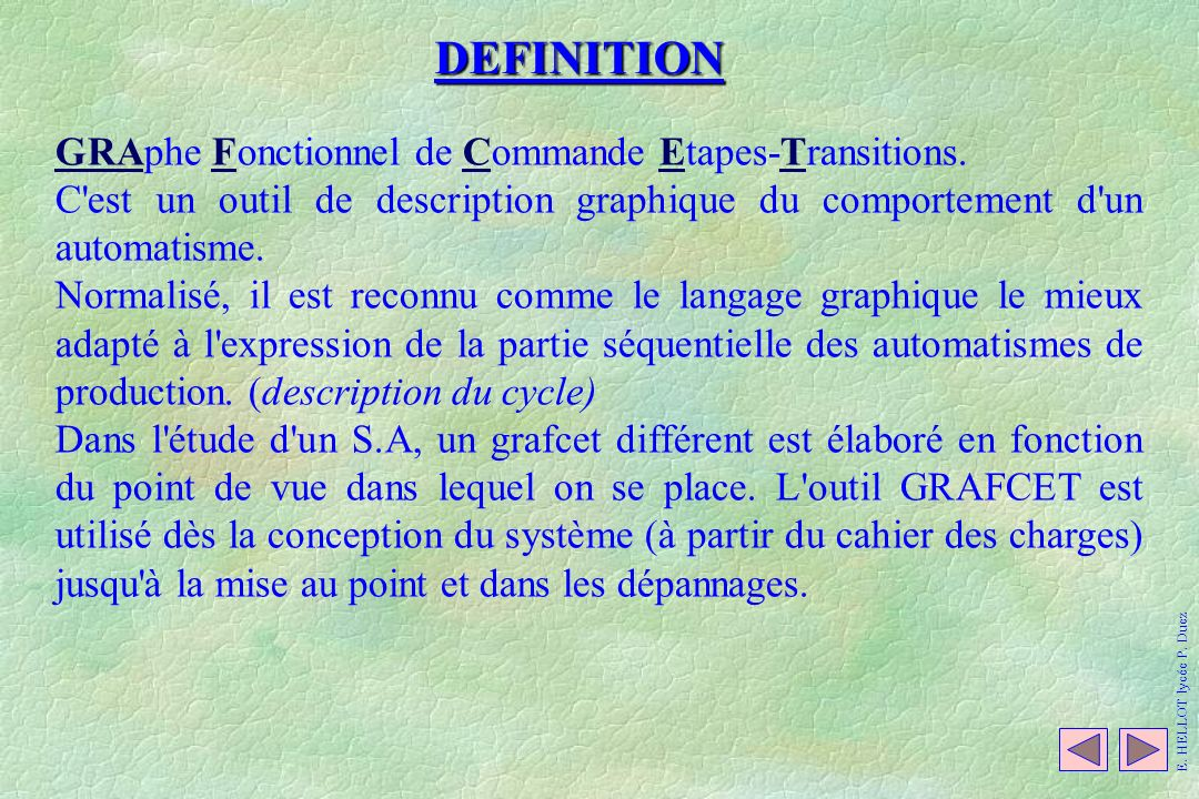 DEFINITION GRAphe Fonctionnel de Commande Etapes-Transitions.
