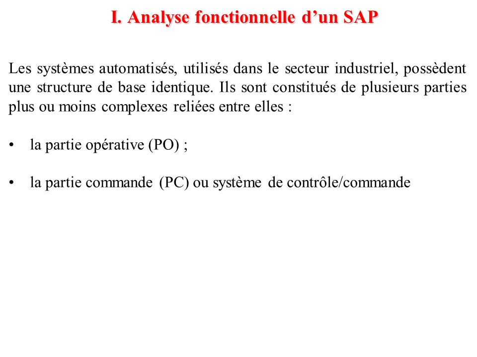 I. Analyse fonctionnelle d'un SAP