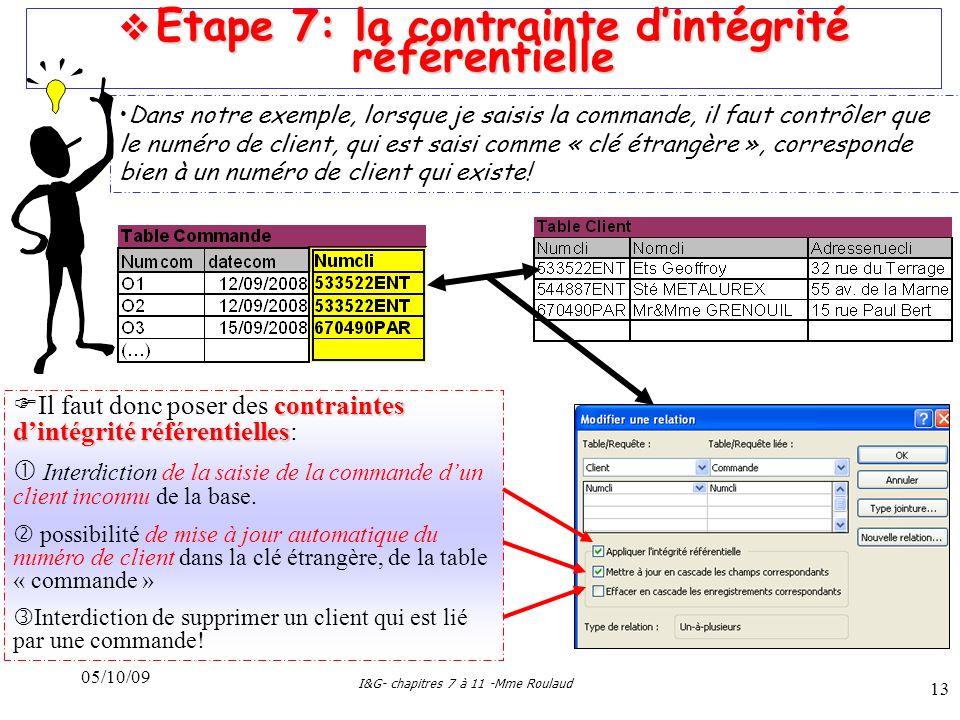  Etape 7: la contrainte d'intégrité référentielle