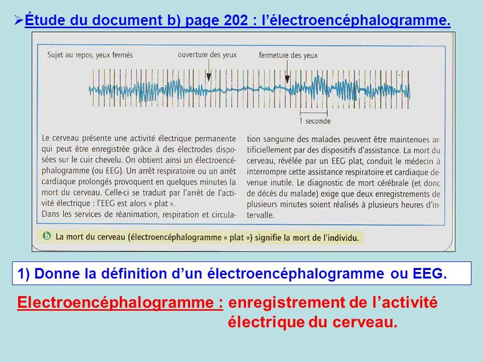 Étude du document b) page 202 : l'électroencéphalogramme.