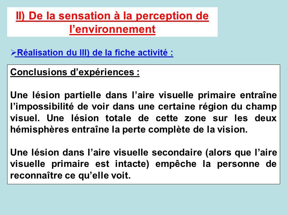 II) De la sensation à la perception de l'environnement