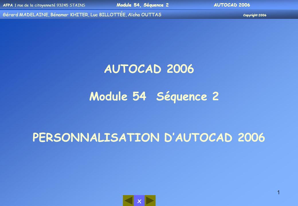 PERSONNALISATION D'AUTOCAD 2006