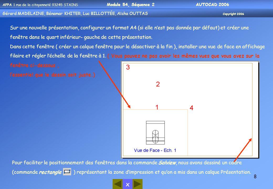 Sur une nouvelle présentation, configurer un format A4 (si elle n'est pas donnée par défaut) et créer une fenêtre dans le quart inférieur- gauche de cette présentation.