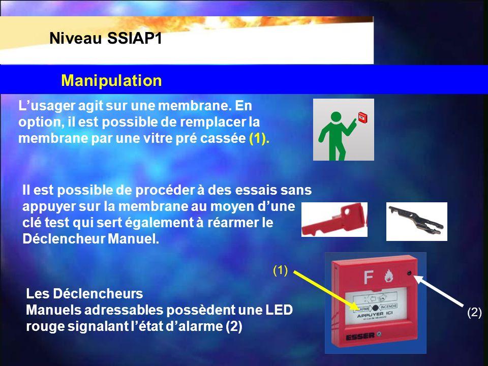 Niveau SSIAP1 Manipulation L'usager agit sur une membrane. En
