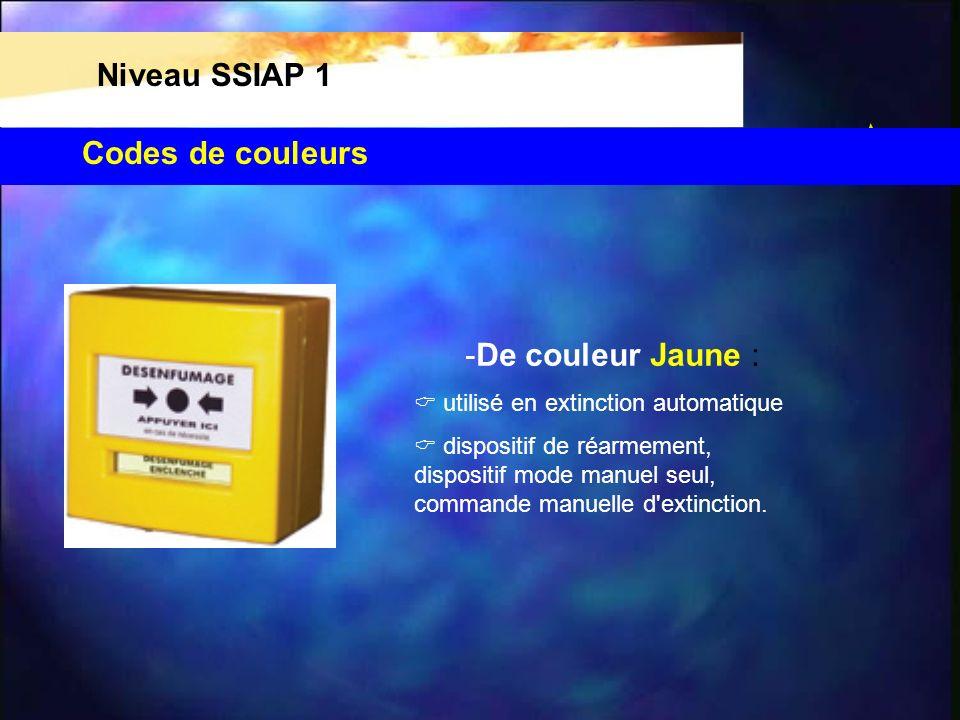 Niveau SSIAP 1 Codes de couleurs -De couleur Jaune :