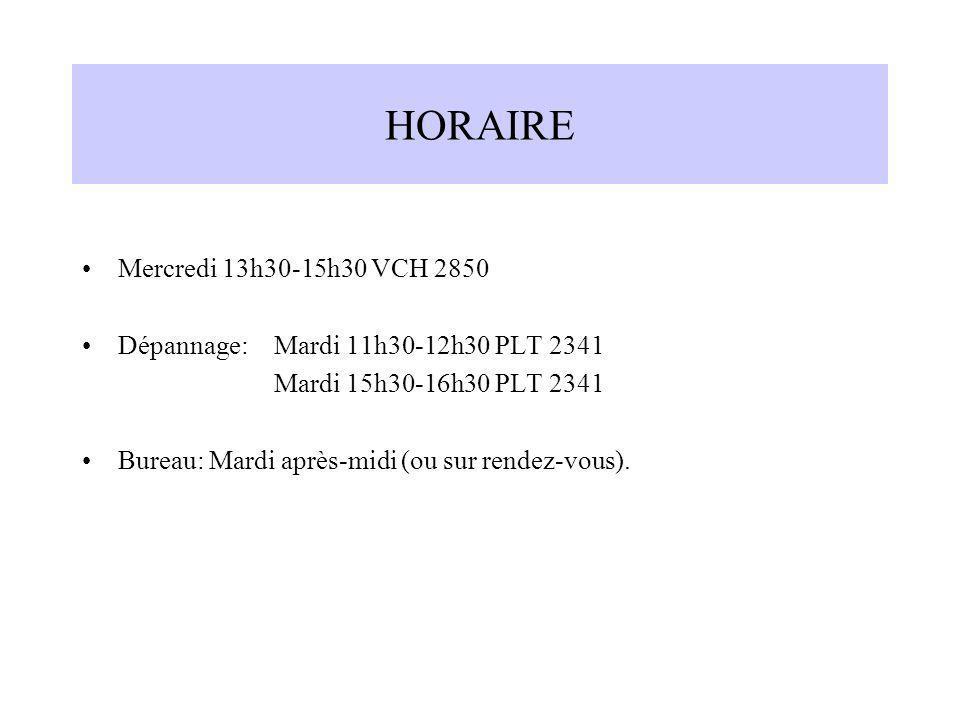 HORAIRE Mercredi 13h30-15h30 VCH 2850