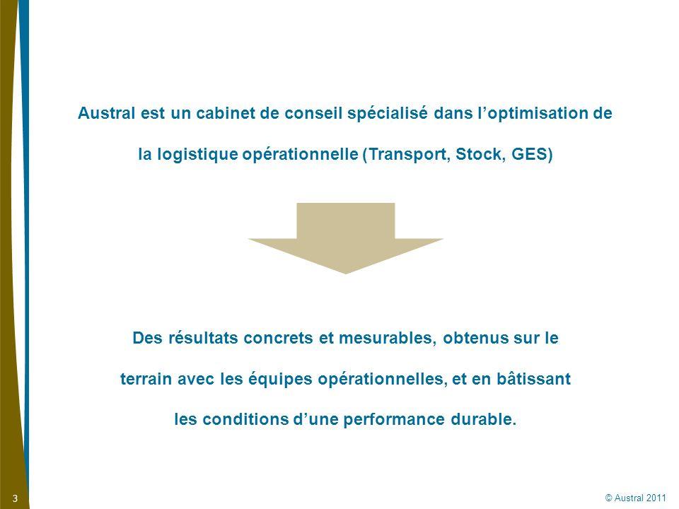 Austral est un cabinet de conseil spécialisé dans l'optimisation de la logistique opérationnelle (Transport, Stock, GES)