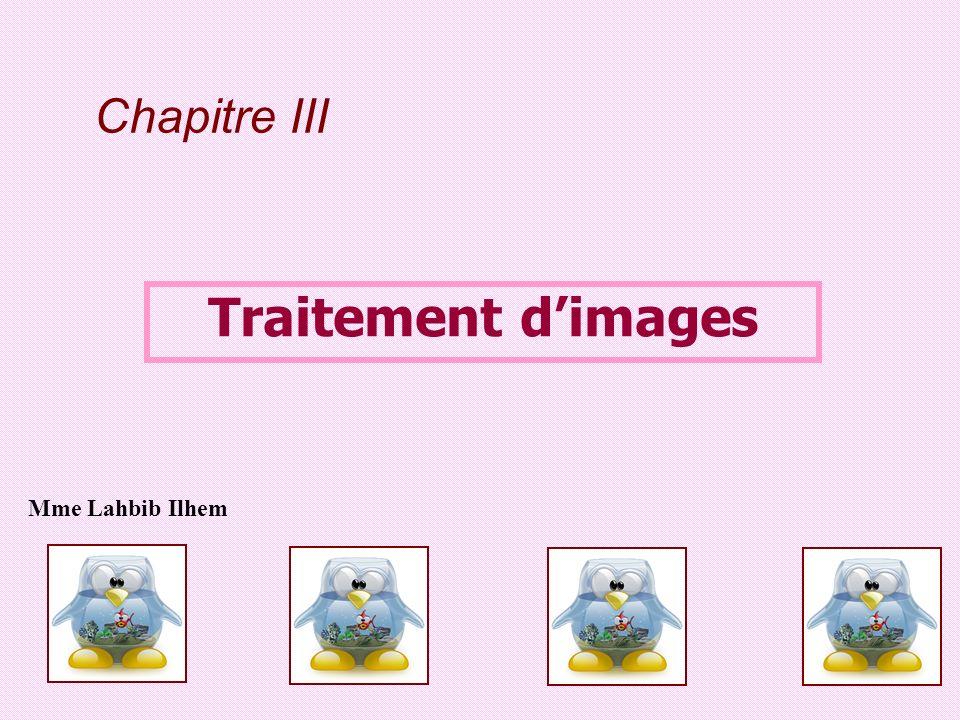 Chapitre III Traitement d'images Mme Lahbib Ilhem