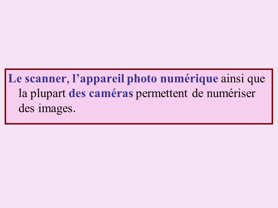 Le scanner, l'appareil photo numérique ainsi que la plupart des caméras permettent de numériser des images.