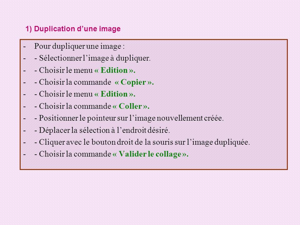 Pour dupliquer une image : - Sélectionner l'image à dupliquer.
