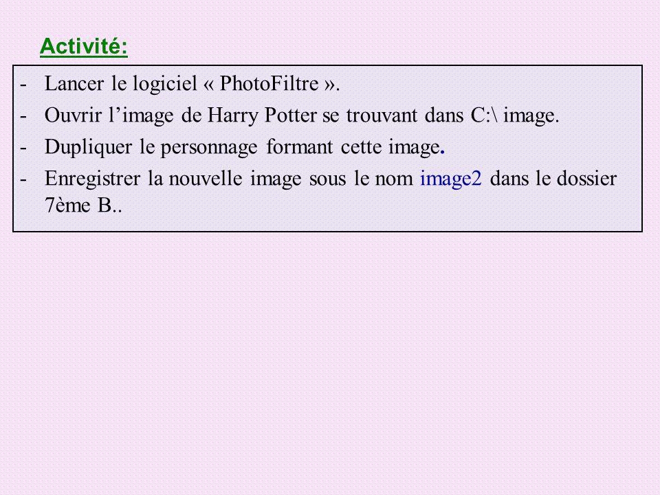 Activité: Lancer le logiciel « PhotoFiltre ». Ouvrir l'image de Harry Potter se trouvant dans C:\ image.