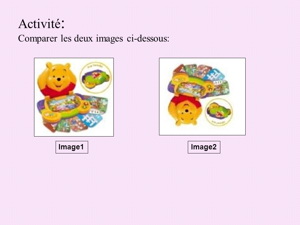 Activité: Comparer les deux images ci-dessous: