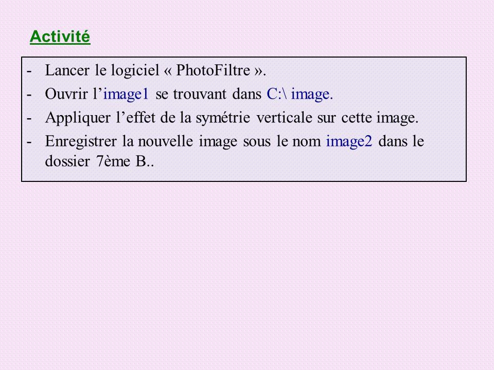 Activité Lancer le logiciel « PhotoFiltre ». Ouvrir l'image1 se trouvant dans C:\ image.