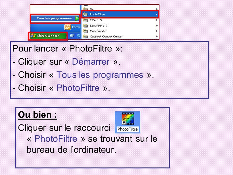Pour lancer « PhotoFiltre »: